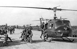 ARVN Rangers load into Bell UH-1 1967