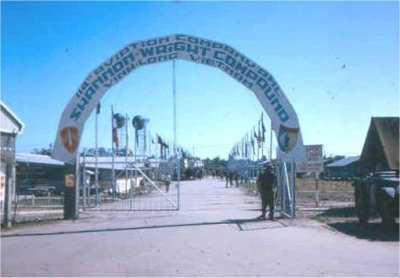 1964 Vinh Long enterance, note flag poles in place and some flags, summer 1964 prior to 62nd arrival.